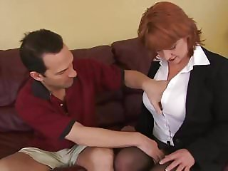 Sexy redhead MILF fucked and jizzed
