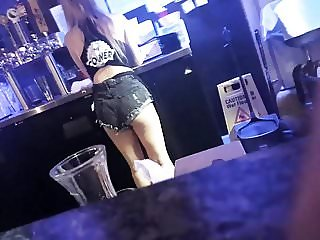 Beautiful waitress in some booty shorts