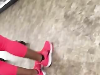 Phat Big Phat Ass Ebony Booty in PINK Leggings